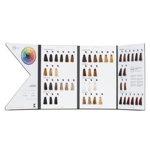 Hairdresser's 3-fold contoured colour chart with extractable locks