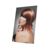 Single-sided, portrait window display card with fold-out support