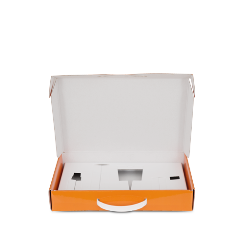 Carry case in cardboard with plastic handle - for haircare products