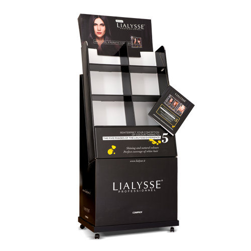 Six compartment ground display for hairdressing company